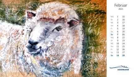 Februarblatt des Postkartenkalenders ›Schafe 2021‹