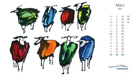 Märzblatt des Postkartenkalenders ›Schafe 2021‹