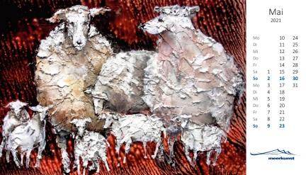 Maiblatt des Postkartenkalenders ›Schafe 2021‹