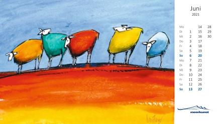 Juniblatt des Postkartenkalenders ›Schafe 2021‹