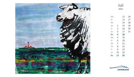 Juliblatt des Postkartenkalenders ›Schafe 2021‹