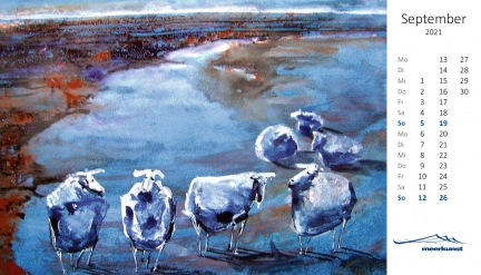 Septemberblatt des Postkartenkalenders ›Schafe 2021‹