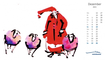 Dezemberblatt des Postkartenkalenders ›Schafe 2021‹